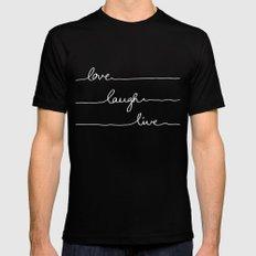 Love Laugh Live (Black) MEDIUM Mens Fitted Tee Black
