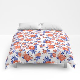 Florida floral orange and blue gators swamp varsity minimal university sports football fan Comforters