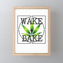 WAKE AND BAKE, GREEN Cannabis Weed Smoke Marijuana Typography Framed Mini Art Print