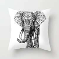 black swan Throw Pillows featuring Ornate Elephant by BIOWORKZ