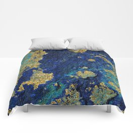 Indigo Teal and Gold Ocean Comforters