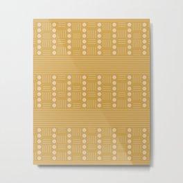 Lines and Circle in Mustard Metal Print