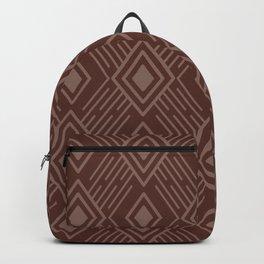 Terracotta Clay Tribal Diamond Grid Backpack
