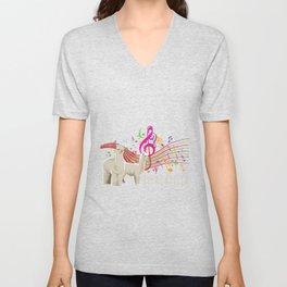 Funny Alpaca Animal Pun Alcapella Music Notes Unisex V-Neck