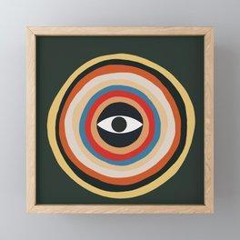 Third Eye Retro Colors Circle Framed Mini Art Print