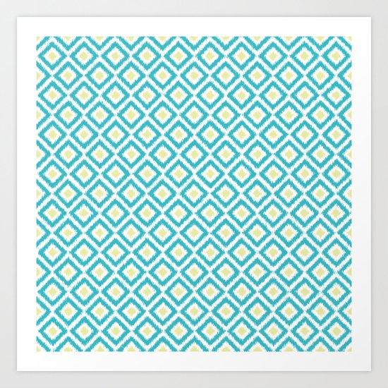 Aqua and Green Diamonds Ikat  Art Print