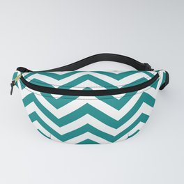 Teal Green Chevrons Pattern Fanny Pack
