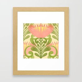 King Protea Flower Pattern - yellow Framed Art Print