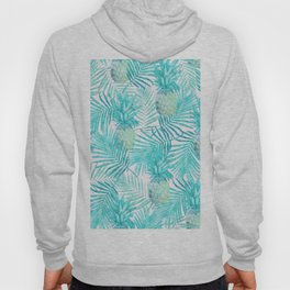 Turquoise Palm Leaves and Pineapples on Pink Hoody