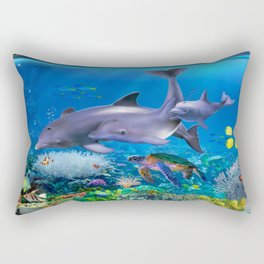The Dolphin Family Rectangular Pillow