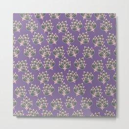 Hand painted blush pink violet modern floral Metal Print
