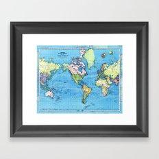 Mercator Map of Ocean Currents Framed Art Print