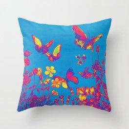 Blue Butterflies & Flowers Throw Pillow
