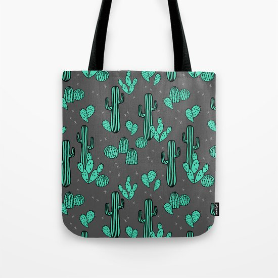 Prickly Pear - Charcoal by Andrea Lauren Tote Bag