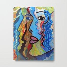 American Graffiti Art - Woman Face Print - Graffiti Face Gift Metal Print