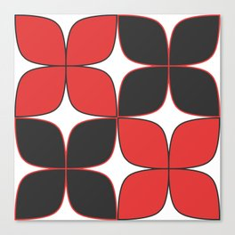 70's Flower Pattern Black Red Canvas Print