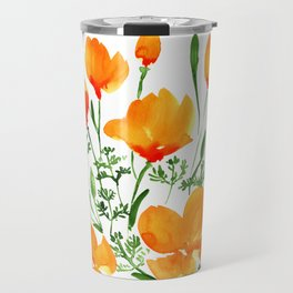 Watercolor California poppies Travel Mug