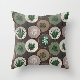 Succulent Embroidery Hoops Throw Pillow