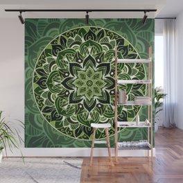 Neon green mandala Wall Mural