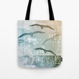 Free Like A Bird Seagull Mixed Media Art Tote Bag