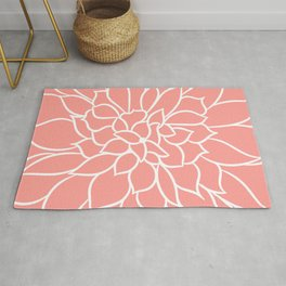 Print Floral, Minimalist, Line Drawing, Coral and White Rug