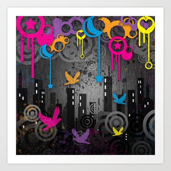 Vector City Grunge. Art Print