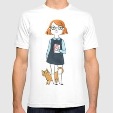 A girl and her cat White MEDIUM Mens Fitted Tee