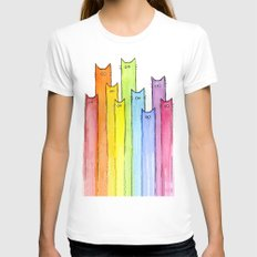 Cat Rainbow Watercolor Whimsical Animals Cats Pattern X-LARGE Womens Fitted Tee White