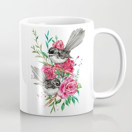 Floral Piwakawakas Coffee Mug