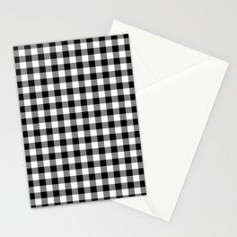 Black White Gingham Check Stationery Cards