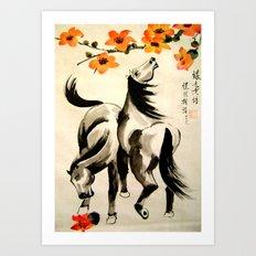 horses under floral tree Art Print