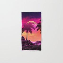Pink vaporwave landscape with rocks and palms Hand & Bath Towel