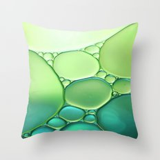 Jade Ombre Bubbles Throw Pillow