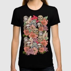Because Sloths Womens Fitted Tee Black MEDIUM