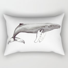Humpback whale black and white ink ocean decor Rectangular Pillow