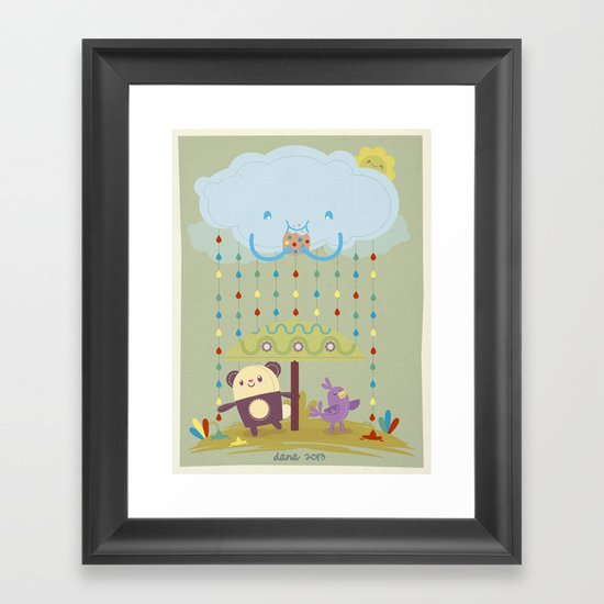 color raindrops keep falling on my head Framed Art Print