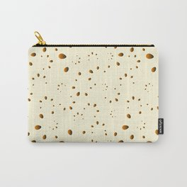 A lot of orange drops and petals on a gentle background in mother of pearl. Carry-All Pouch