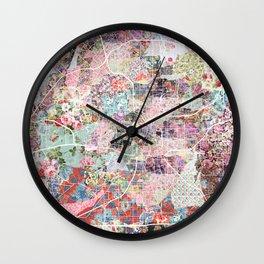 San Antonio map flowers Wall Clock