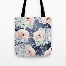 Night Succulents Navy Tote Bag