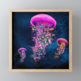 Floating Electric Jellyfish Worlds Framed Mini Art Print