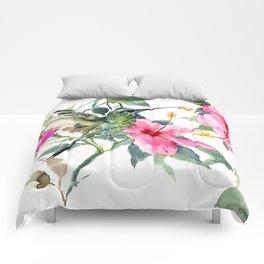 Hibiscus and Hummingbird, Hawaiian Aloha, birds and flowers design Comforters
