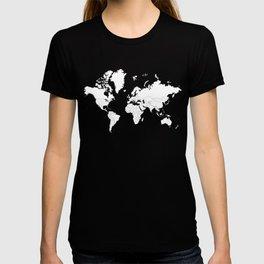 Minimalist World Map White on Black Background. T-shirt