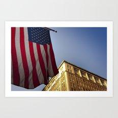 Cornice with flag Art Print