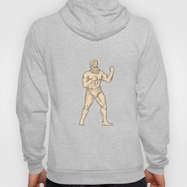 Hercules In Boxer Fighting Stance Drawing Color Hoody