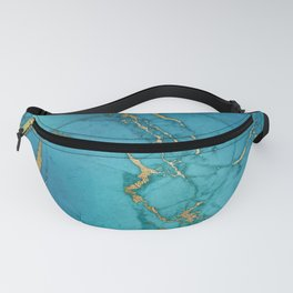 Turquoise Gold Metallic Marble Stone Fanny Pack