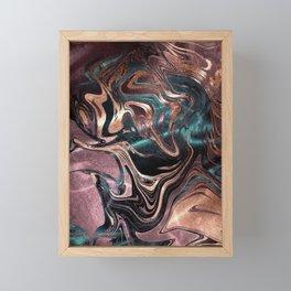 Metallic Rose Gold Marble Swirl Framed Mini Art Print