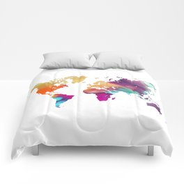 World map colored Comforters