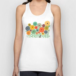 Cat in flower garden Unisex Tank Top