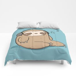 Kawaii Cute Sloth Listening To Music Comforters