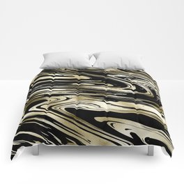 Chic modern abstract black gold stylish marble Comforters